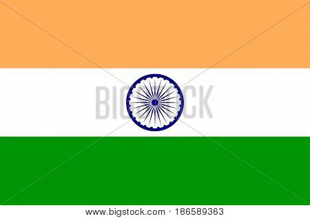 National flag of India, horizontal rectangular tricolour, saffron, white, and India green, navy blue wheel, indicating the country. Vector flat style illustration