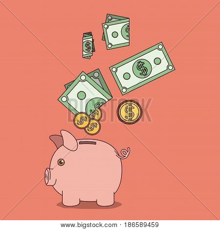light salmon color background with moneybox with bills and coins falling over her vector illustration