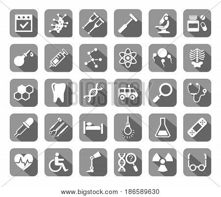 Medicine, icons, grey with shadow, vector. Medical services specialization. The profession of doctors. Medical instruments. White, flat images on a gray background with shadow.