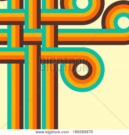 Abstract retro background, digital lines and circles, design 70s.