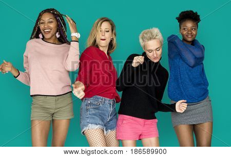 People Girlfriends Smiling Happiness Dancing Togetherness