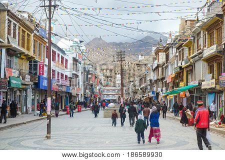 Leh India - April 26 2017 : People walking in Leh Main Bazaar Leh Jammu and Kashmir India