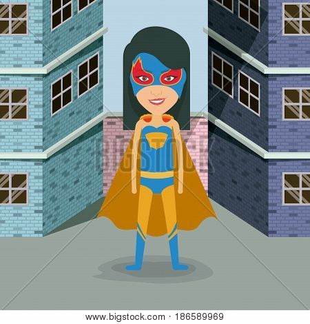colorful background buildings brick facade with superheroin woman in outfit with straight hair vector illustration