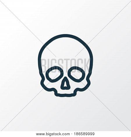 Skull Outline Symbol. Premium Quality Isolated Cranium  Element In Trendy Style.
