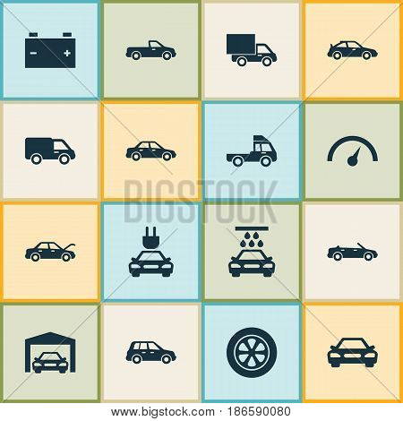 Automobile Icons Set. Collection Of Transport Cleaning, Chronometer, Crossover And Other Elements. Also Includes Symbols Such As Speedometer, Water, Crossover.
