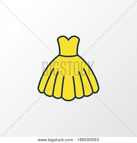 Dress Colorful Outline Symbol. Premium Quality Isolated Evening Gown Element In Trendy Style.