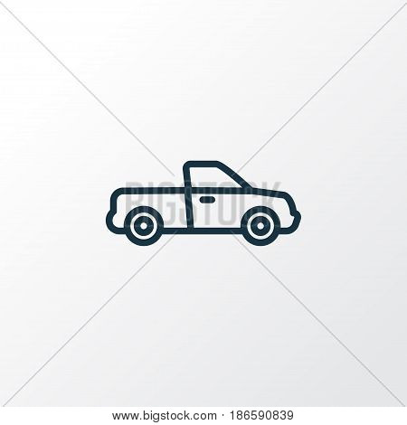 Pickup Outline Symbol. Premium Quality Isolated Van Element In Trendy Style.
