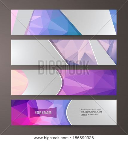 Horizontal Web Banner Triangle Mosaic Background Set Template07