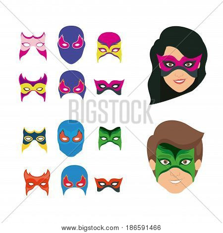 white background set ccollection mask of super hero male and female vector illustration