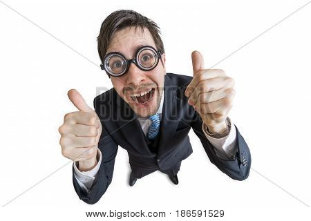 Cheerful And Happy Man Is Showing Thumbs Up Gesture. Isolated On