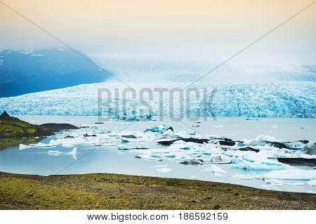 Icebergs In The Glacial Lake. Fjallsarlon Lagoon, Iceland