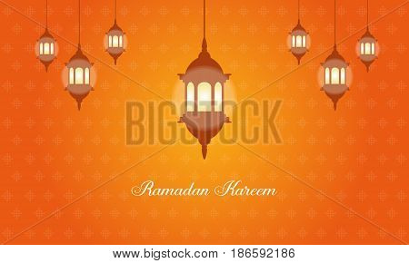 Collection stock of Ramadan Kareem with latern vector art