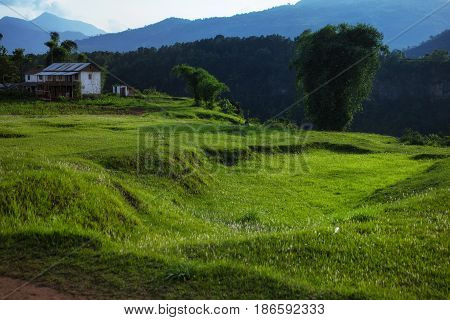 Beautiful Scenery With Mountains And A Rural House
