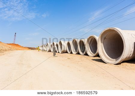 Construction Roads Storm Drain Pipes