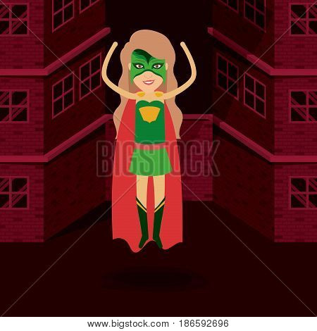 red background buildings brick facade with superwoman standing in outfit with hand up vector illustration