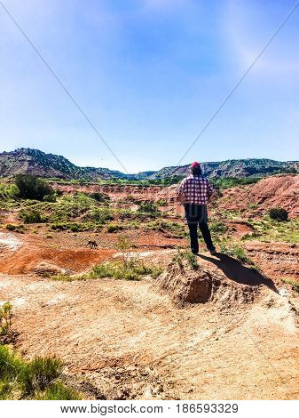 rear view of man in a canyon thinking
