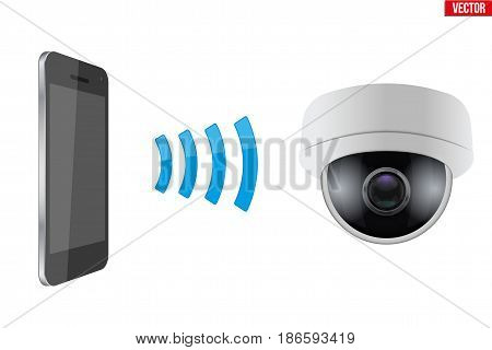 Illustration of Wireless Controlling CCTV security camera with smartphone. IOT Concept and remote home appliance. Editable Vector illustration Isolated on white background.