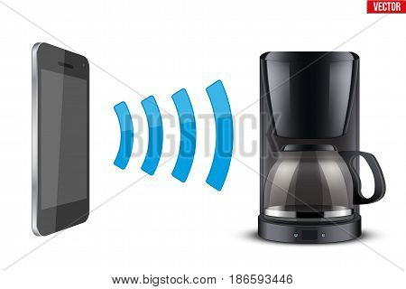 Illustration of Wireless Controlling coffee maker with smartphone. IOT Concept and remote home appliance. Editable Vector illustration Isolated on white background.