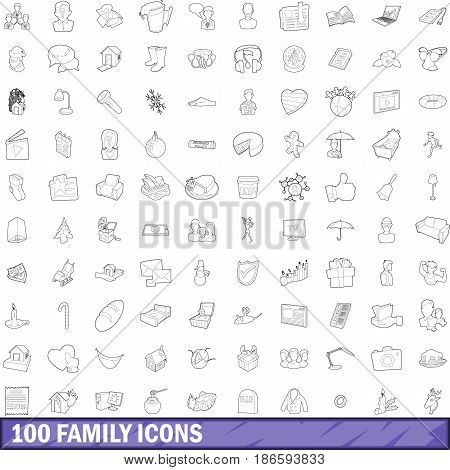 100 family icons set in outline style for any design vector illustration