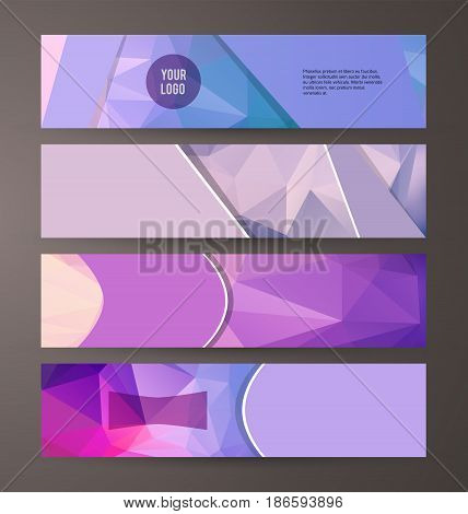 Horizontal Web Banner Triangle Mosaic Background Set Template08