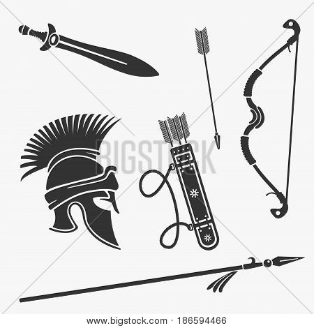 Vector Element Set Ancient Weapon and Armor