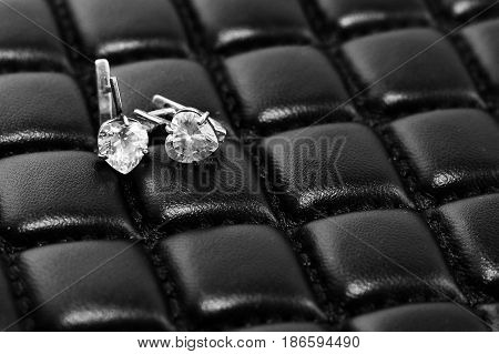 Women's Earrings On Stylish Black Leather Material
