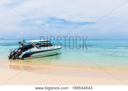 speed boats moored at the sea in Thailand