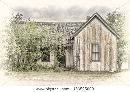 old abandoned house in a ghost town in eastern Utah, image processed a hand tinted opalotype