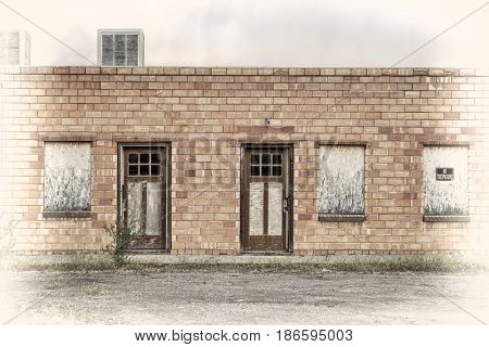 abandoned motel in a ghost town in eastern Utah, image processed a s a hand tinted opalotype