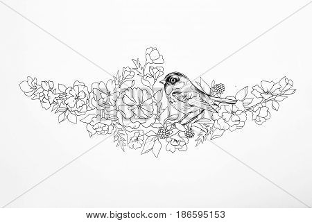 Sketch of a beautiful bird on a branch with flowers on white background.