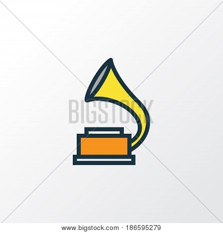 Phonograph Colorful Outline Symbol. Premium Quality Isolated Gramophone Element In Trendy Style.