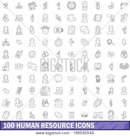 100 human resource icons set in outline style for any design vector illustration