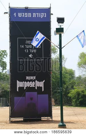 TEL AVIV, ISRAEL - APRIL 30, 2017: Announcement of Justin Bieber concert at Park HaYarkon in Tel Aviv, Israel