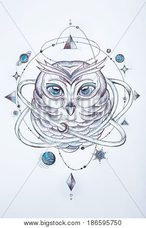 A sketch of a wise owl on a white background.