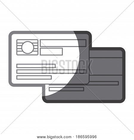 grayscale silhouette of credit card with chip vector illustration