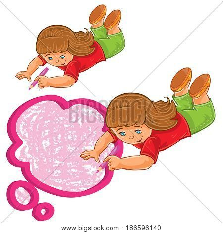 Vector illustration, icon of small girl lies on the floor and draw a speech bubble