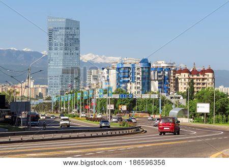 ALMATY KAZAKHSTAN - MAY 14 2017: View from Al-Farabi avenue it is one of the main roads in the city of Almaty