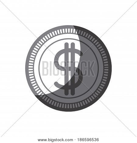 grayscale silhouette of money coin icon vector illustration