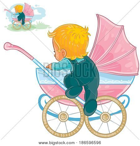 Vector clip art illustration of little baby crawls out of a baby carriage. Print, template, design element