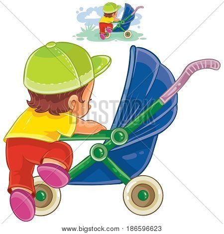 Vector clip art illustration of little child climbs into a pram. Print, template, design element