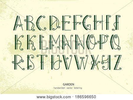 Vector alphabet set. Uppercase green letters with decorative flourishes. Images and associations: forged fence garden Art Nouveau style.