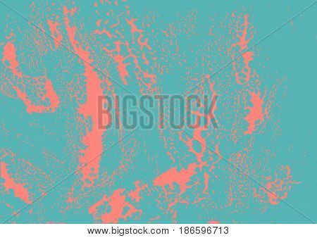 Vector modern grunge pink texture on blue background. Imitation of drips spilled water blot liquid.