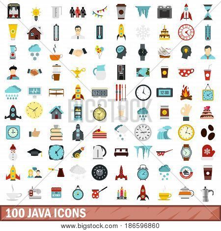 100 java icons set in flat style for any design vector illustration