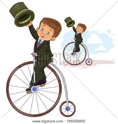 Vector illustration, icon of small boy in period costume ride retro bike