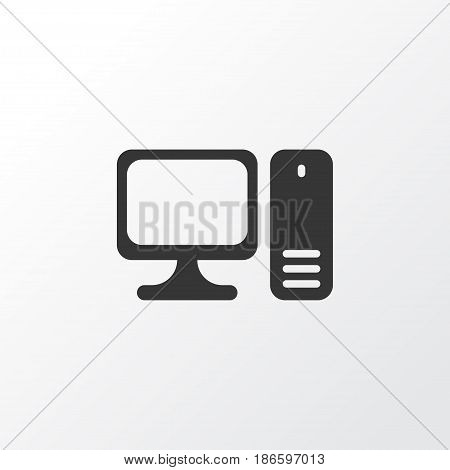 Personal Computer Icon Symbol. Premium Quality Isolated Desktop Computer Element In Trendy Style.