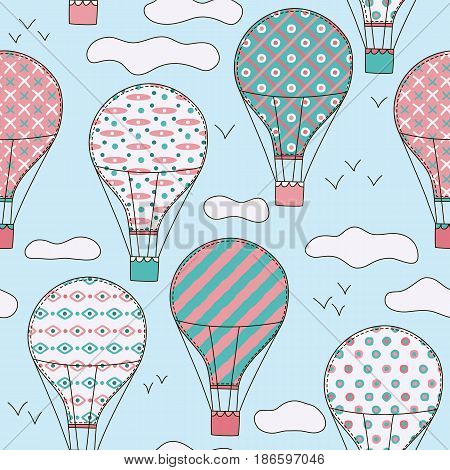 Hand drawn vector vintage seamless pattern with cute little air balloons in sky with clouds. Adventure dream background. Childish illustration. Kid wallpaper