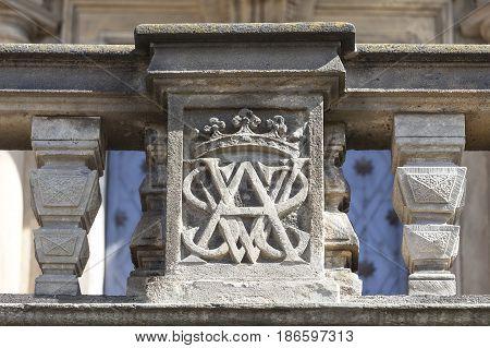 Troja Palace details of entrance., Prague, Czech Republic