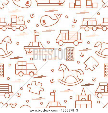 Vector Illustration Kids Toys Objects: Train, Puzzle, Designer, Boat, Car, Whale And Other.