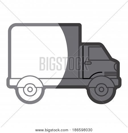 grayscale silhouette of truck with wagon vector illustration