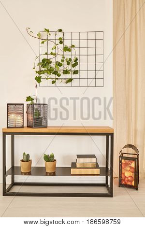 Wooden Desk With Plants